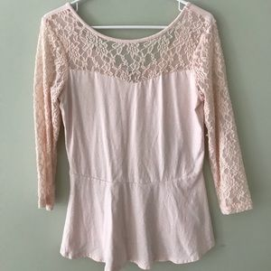 3/4 Sleeve Lace Peplum Top